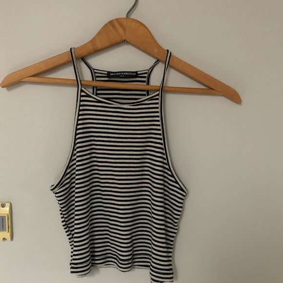 Brandy Melville Black and White Striped Top